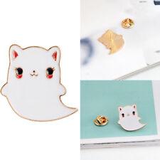 Cute Cartoon White Cat Metal Brooch Pin Button Pins Girl Jeans Clothes Bag Decor