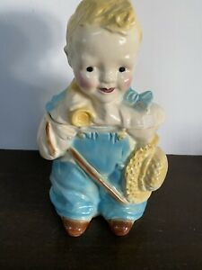Vintage Original Brush Pottery Little Boy Blue Cookie Jar Large 12+ Inch Version