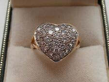 Q84 Ladies 18ct gold 1 carat diamond heart ring size N