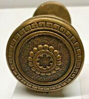 Antique 1880's Schroder Ornate Bronze Door Knobs Federal/Greek Key D-1030 Group