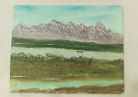 Mountains and river on canvas painting medium art  11x14in- Signed by artist