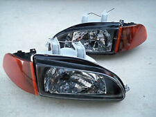For Honda Civic EG EJ JDM Black Headlights Smoked Amber Corners + SiR City Light