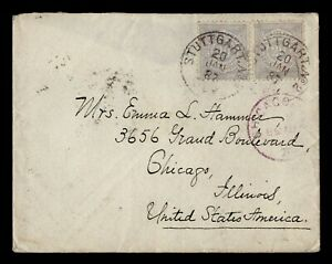 DR WHO 1887 WURTTEMBERG GERMANY STUTTGART TO USA C243030