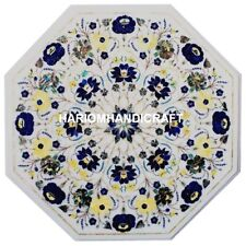 """18"""" Marble Coffee Side Table Top Lapis Floral Fine Marquetry Inlaid Decor M223"""