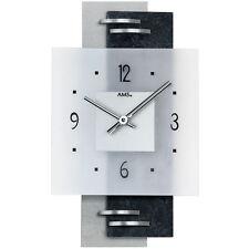 Ams 9245 Horloge Murale Quartz Analogique Argent Moderne avec Ardoise et Verre