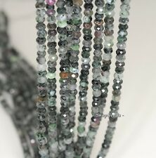 """4X3MM BLACK GREEN RUBY ZOISITE GEMSTONE B FACETED RONDELLE LOOSE BEADS 7.5"""""""