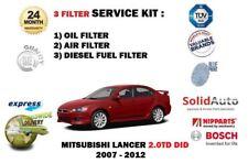 FOR MITSUBISHI LANCER 2.0DT DiD 2007-2012 OIL AIR FUEL 3 FILTER SERVICE KIT