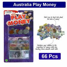 66 Pcs Australian Play Money Notes Coins Aussie Toy Coin Fake Kids Bank Dollar