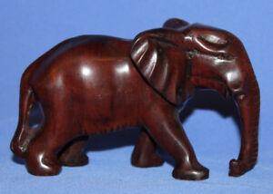 Hand Carving Mahogany Elephant Wood Statuette
