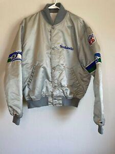 Vintage 90s Rare Seattle Seahawks SILVER STARTER Jacket Bomber Throwback