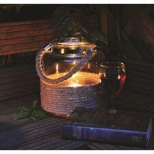 GRANDE Vintage Nautico Iuta Corda Uragano Lanterna Candela Vetro Tè Leggero titolare