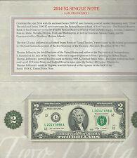 US MINT 2014 SEALED $2 DOLLAR BILL SINGLE NOTE SAN FRANCISCO SEAL FREE SHIPPING