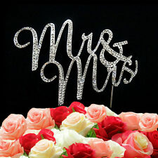Mr & Mrs Wedding Cake Topper Decoration Rhinestone And Diamante Crystal Sign