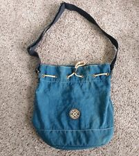 Kipling Bucket Bag Blue Crinkle Nylon Drawstring Top-Closure Shoulder Purse