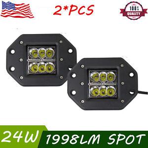 2X24W Led Lights Flush Mount Backup Reverse Front Rear Bumper Cube Pods Fog Lamp