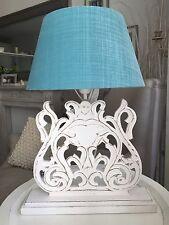 Tischlampe Handarbeit Holz weiß Lampenschirm Leinenstoff Türkis Stehlampe Lampe