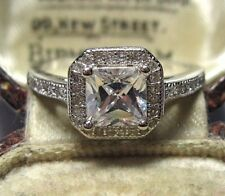 Vintage Art Deco Style Solid Silver Pretty Crystal Set Jewellery RING Size 8.5 R