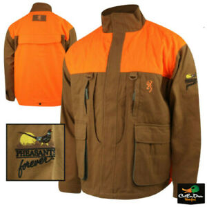 BROWNING PHEASANTS FOREVER UPLAND FIELD JACKET COAT W/ LOGO BROWN BLAZE CANVAS