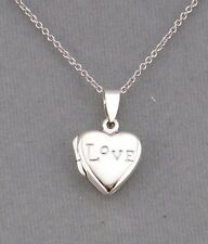 925 Sterling Silver Love Heart Locket Necklace Tiny Cute Jewelry NEW