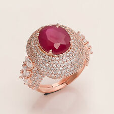 Natural Ruby Solitaire Ring Rose Gold Plating Silver Tone Women Wedding Jewelry