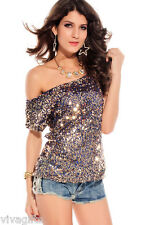 Ladies Gorgeous Clubwear sequin top Size M - blue with gold sequins