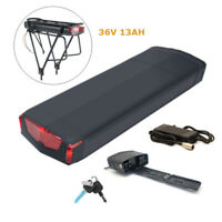 36V 13AH 350W 500W Electric Lithium Ebike Battery LED Rear Rack Battery Charger