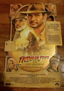 """INDIANA JONES 1989 The Last Crusade VHS Counter Display Standee 11""""x17"""" Stand Up"""