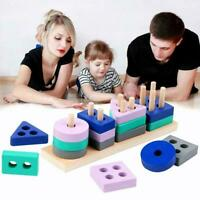 Wooden Montessori Shape Sorter Building Blocks Toy Baby Learning For Kids N5D1