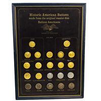 22 Vintage American Heritage Civil War Waterbury Conn Metal Buttons Gold Shanks