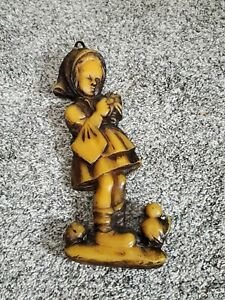 """12"""" Vintage Wax Carved Wall Hanging Decoration Girl Holding Flower"""