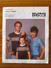 BEVKNITS PATTERN - 3001 FAMILY T-SHIRT MEN 32-46 LADIES 8-22 CHILD 2-12 YR UNCUT
