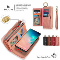 For Samsung Galaxy S10 5G S9 S8 Removable Zipper Leather Flip Wallet Case Cover