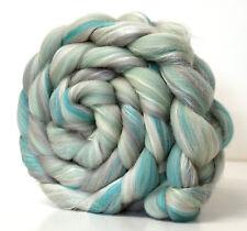 Merino Wool & Silk Fibre Blend - Frozen -  100g for Handspinning Yarn or Felting