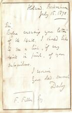 15th Earl of Derby - Foreign Secretary - original 1870 letter