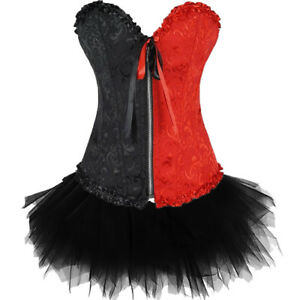Black&Red Burlesque Moulin Rouge Can Can Tutu Fancy Dress Costume Corset Outfit