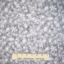 Christmas Fabric - Holiday Accents Gray Tonal Snowflake Blender  - RJR YARD