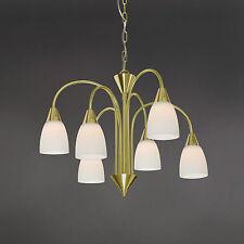 WOFI lámpara colgante LED CASA 6 luces vidrio bronce blanco CORONA 30 vatios