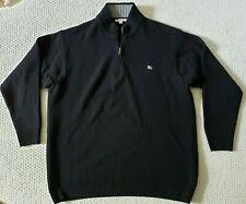 Burberry London Men's Quarter Zip Lambswool Pullover Sweater, Black EXCELLENT