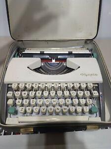 Rare Vintage Olympia SF De Luxe Portable Typewriter White + Case