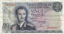 BILLET BANQUE LUXEMBOURG LUXEMBURG 20 FRANCS 1966 état voir scan 002