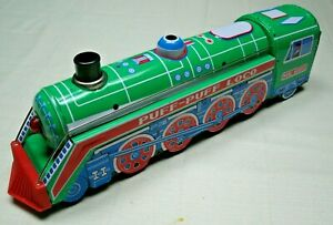 """Tin Puff-Puff LOCO """"Bump-N-Go"""" Train Toy Battery Operated Works Great VGC"""