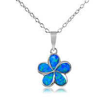 Sterling Silver Necklace w/ Blue Opal Stone Hibiscus Flower Pendant