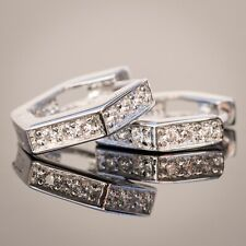 Mens Sterling Silver Small Lab Simulated Diamond Iced Hoop Huggie Clip Earrings