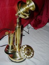 ANTIQUE / VINTAGE LOOK  BRASS CANDLESTICK TELEPHONE ROTARY DIAL