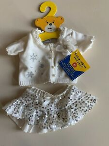 Build-A-Bear Workshop cream cardigan and sequinned skirt set