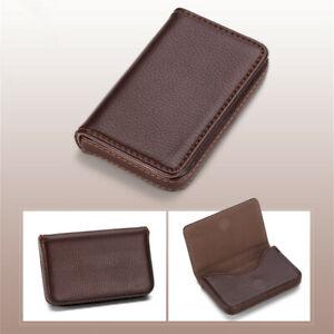 New Black Pocket PU Leather Business ID Credit Card Case Holder Wallet