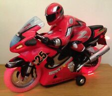 Moto De Radio Control Remoto Bici velocidad rápida música y luces de Rueda Led Rojo
