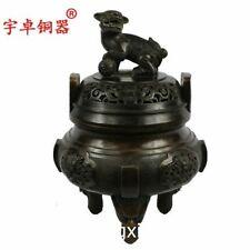 28.5 cm China Bronze copper Foo dog lion Dragon Incense Burners censer incensory