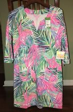 Lilly Pulitzer SCARLET MACAW JOYCE DRESS UPF50+ 3/4 Sleeves Slit Neck XS NWT