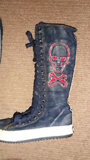 Lei Nier Denim/scull long lace up boots 3